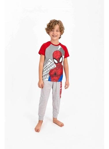 Spider-Man Spider Man Lisanslı Krem Erkek Çocuk Kısa Kol Pijama Takımı Krem